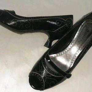 Etienne Aigner Black Pat Leather Peep Toe Pumps 7